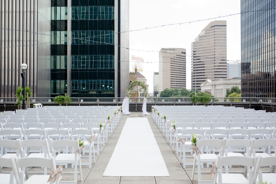 rooftop ceremony at the renaissance downtown columbus