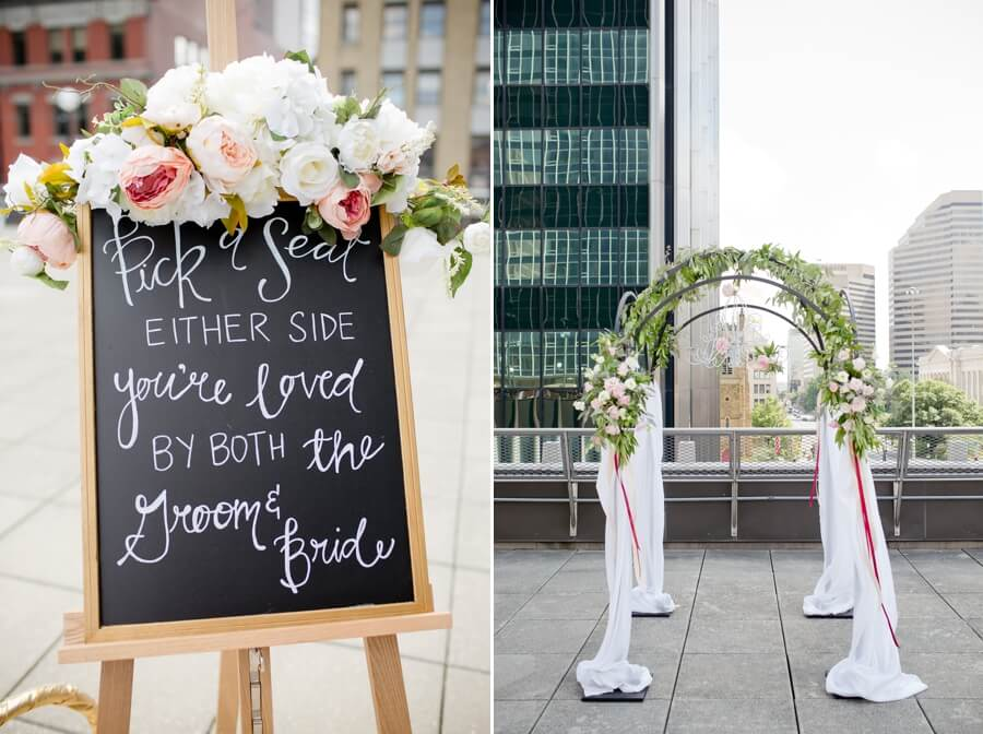 rooftop ceremony details at the downtown columbus renaissance