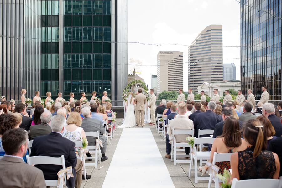 rooftop ceremony at the renaissance columbus ohio downtown