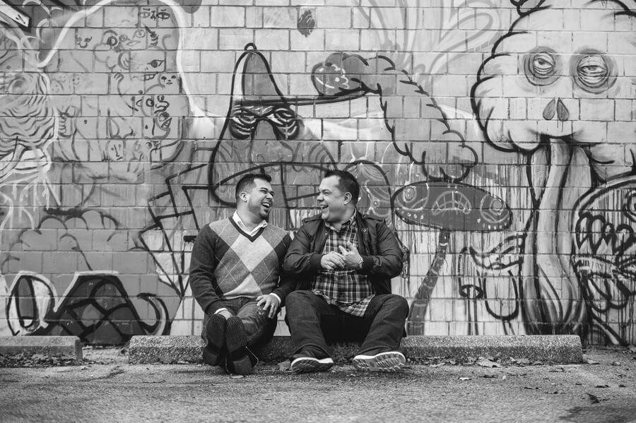 groom and groom laughing in short north columbus ohio