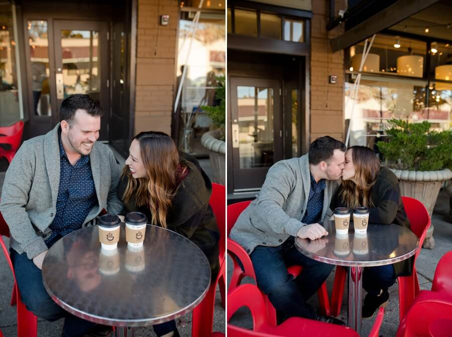 engaged couple laughing at coffee roaster