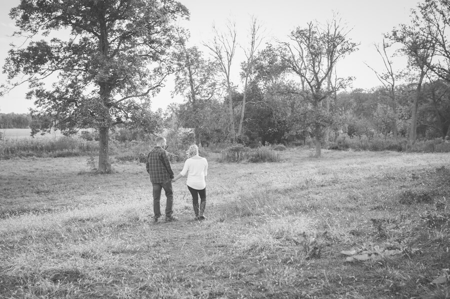 columbus ohio farm engagement couple walking