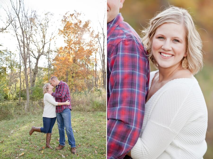 columbus ohio farm engagement couple kissing