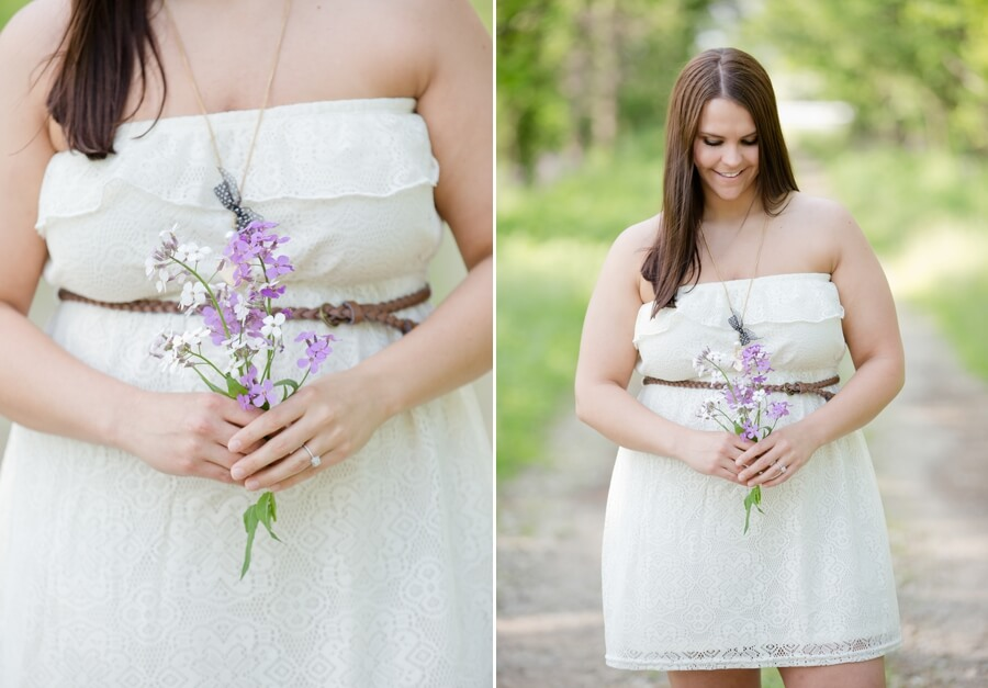 bride to be holding flowers at Irongate Equestrian Center
