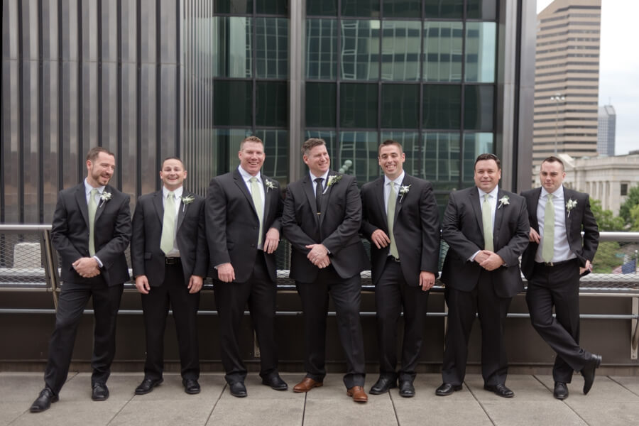 groom with groomsmen on the renaissance rooftop in columbus ohio