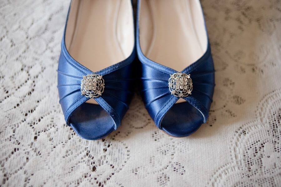 lace and blue wedding shoes