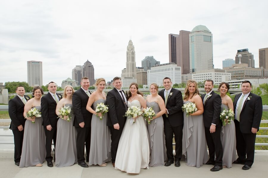 bridal party at downtown columbus skyline
