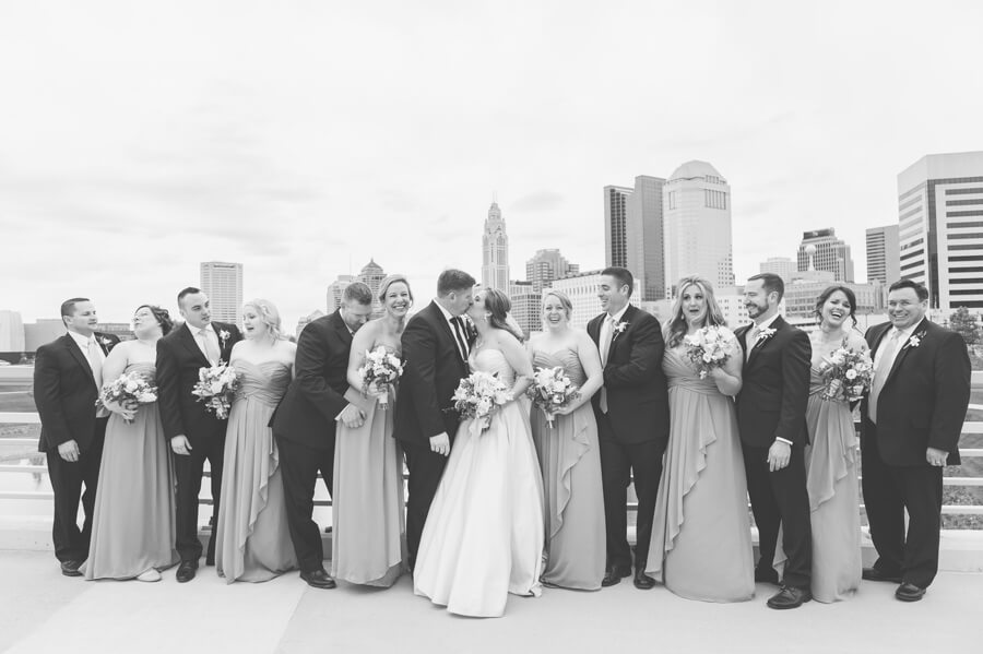 wedding party at columbus skyline