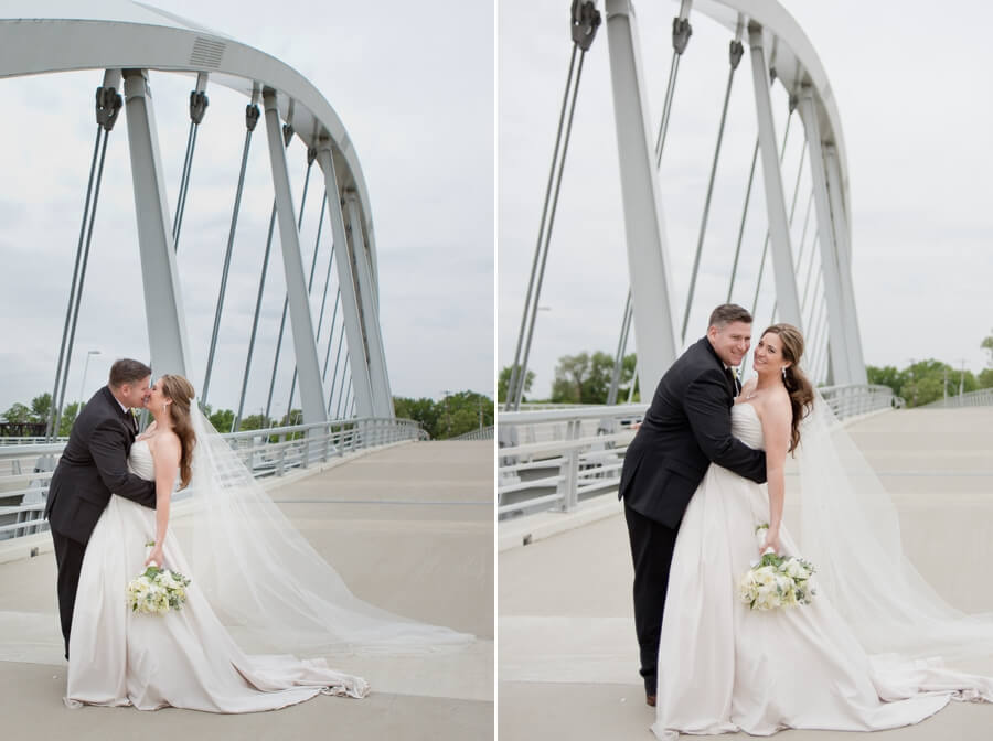 bride and groom kissing at scioto mile