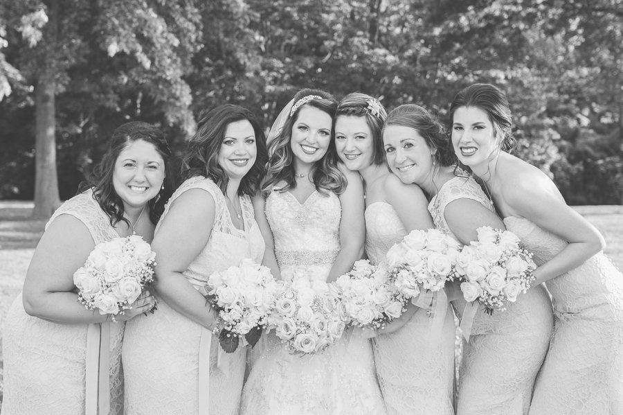bride and bridesmaids at grand vue park west virginia