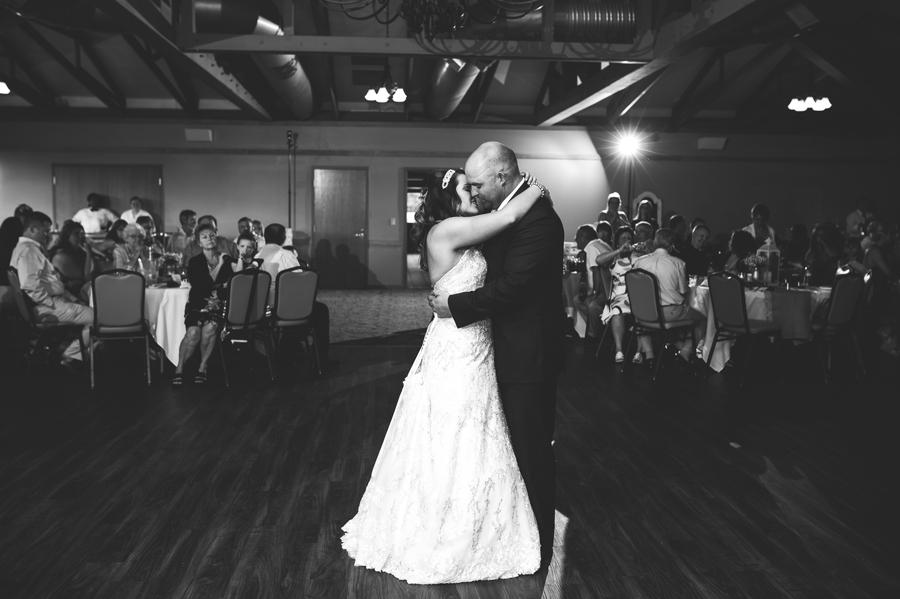 bride and groom first dance at grand vue park