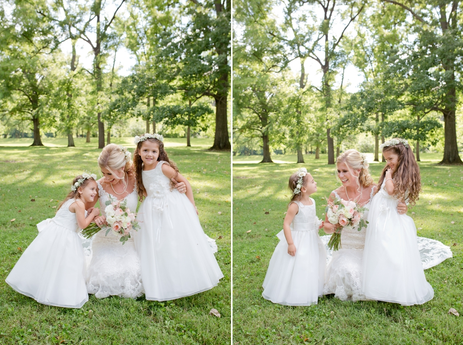 bride with flowergirls at the darby house