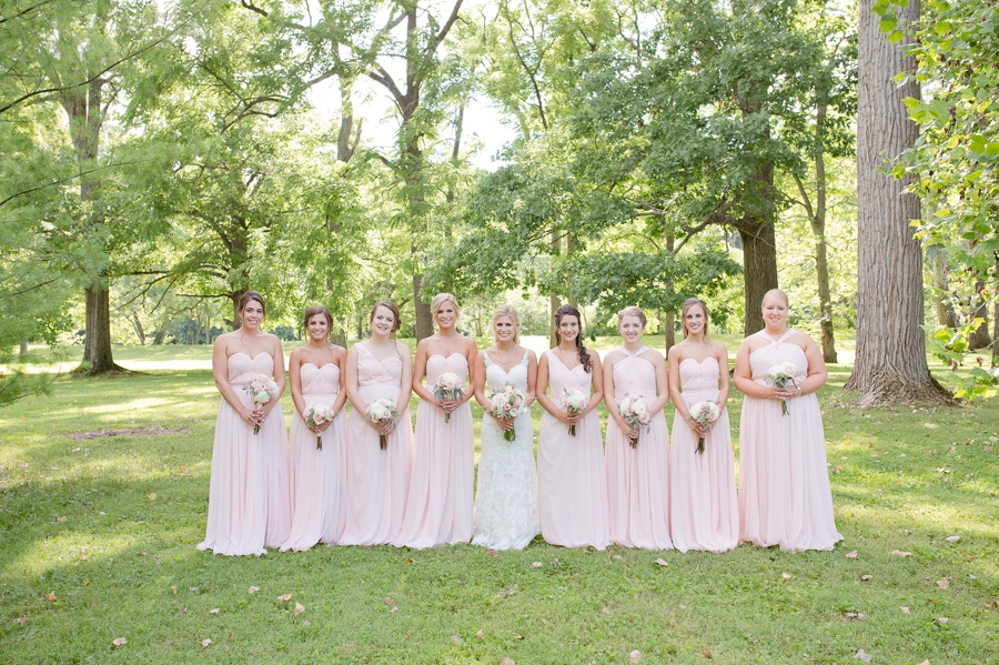 bride with bridesmaids at the darby house