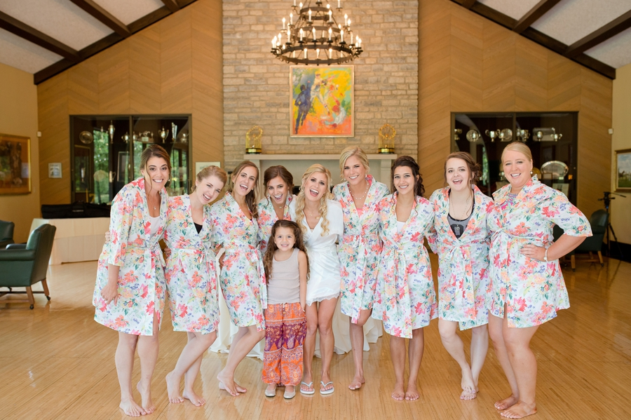 bridesmaids in robes at the darby house