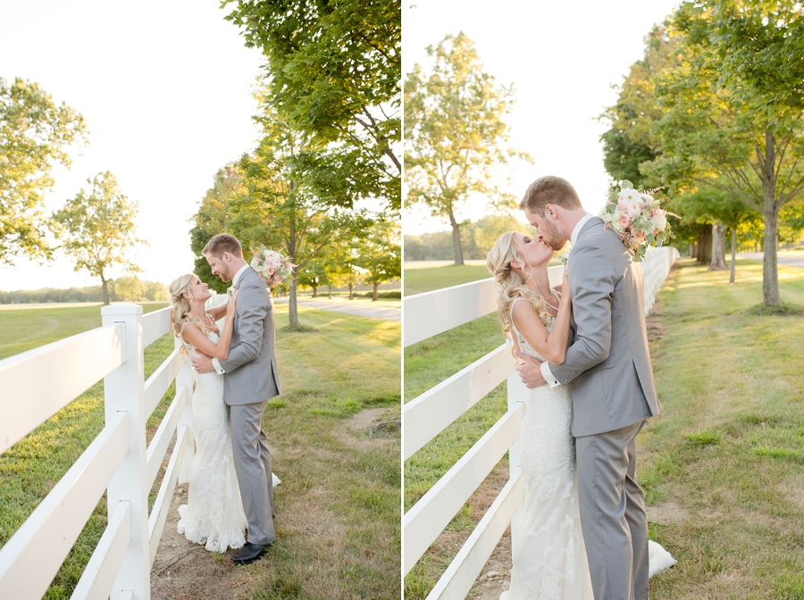 bride and groom kissing at the darby house
