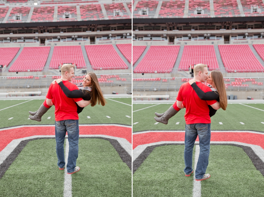 Ohio State University Engagement couple on field