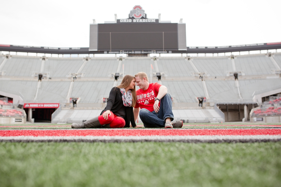 Ohio State University Engagement couple on OSU field