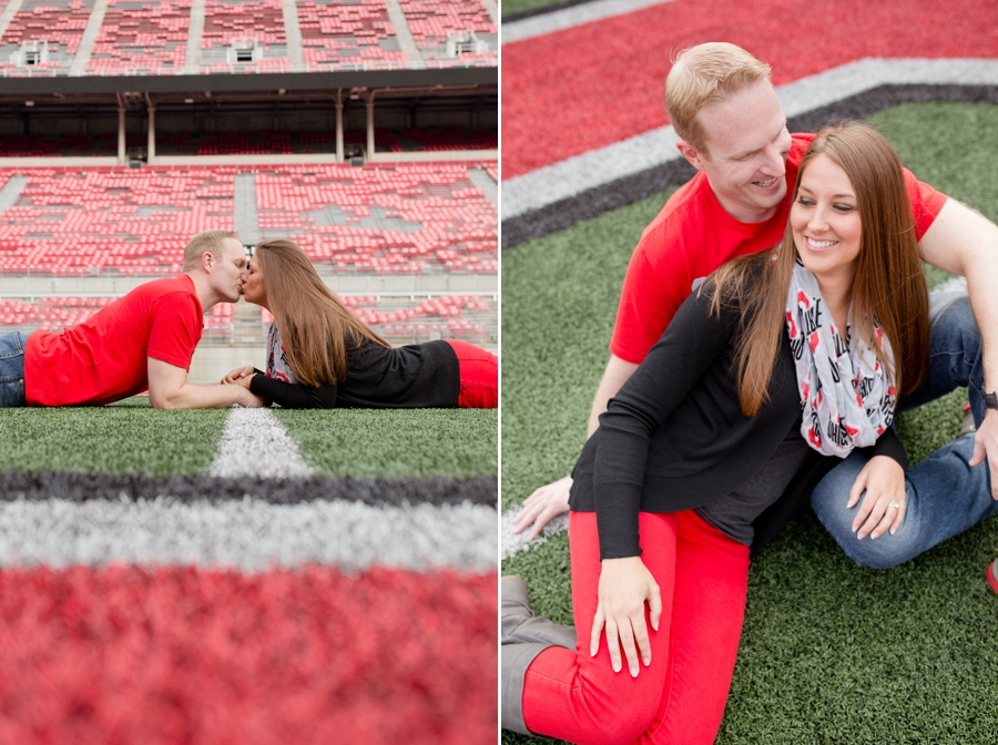 Ohio State University Engagement couple kissing on field
