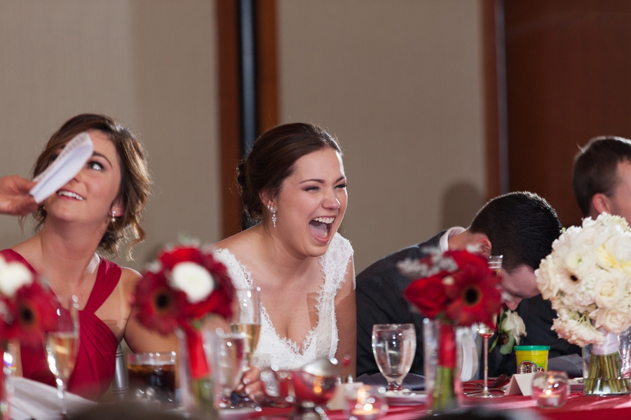 The Blackwell Columbus OH bride laughing at speech