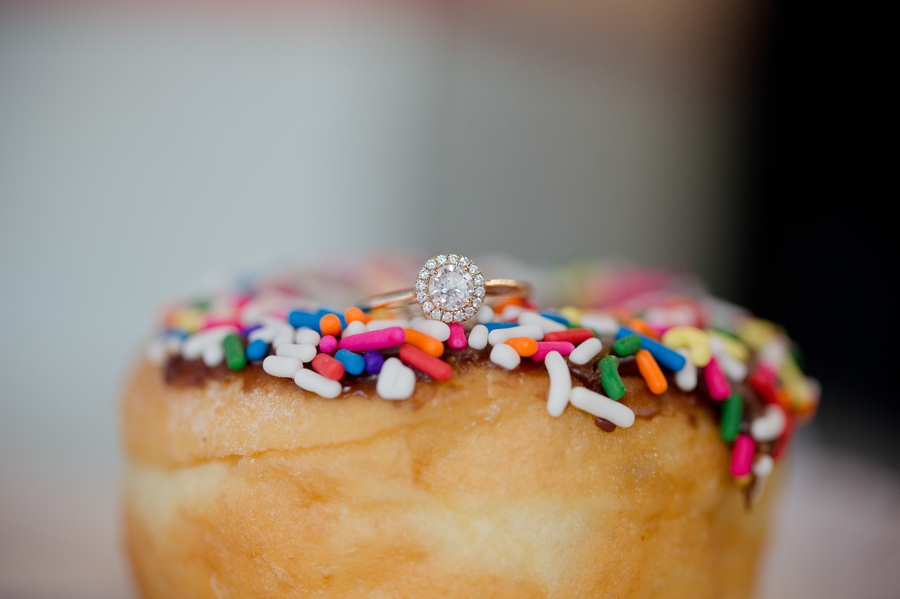 engagement ring on donut