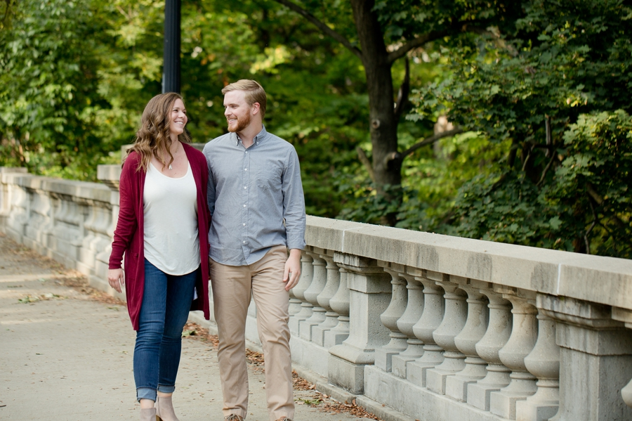 engaged couple on osu campus