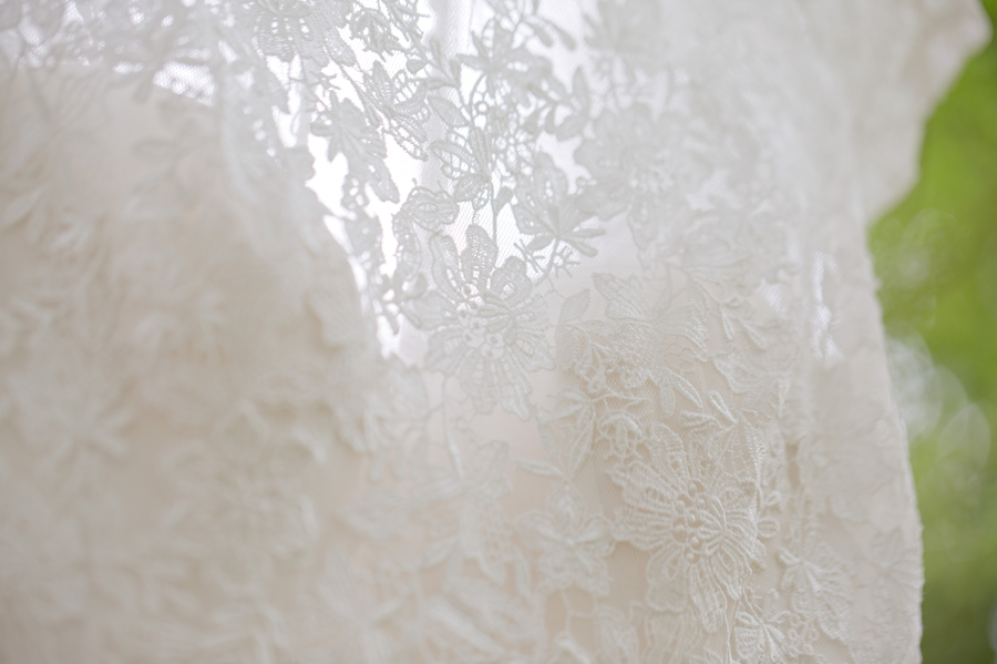 details of bridal gown