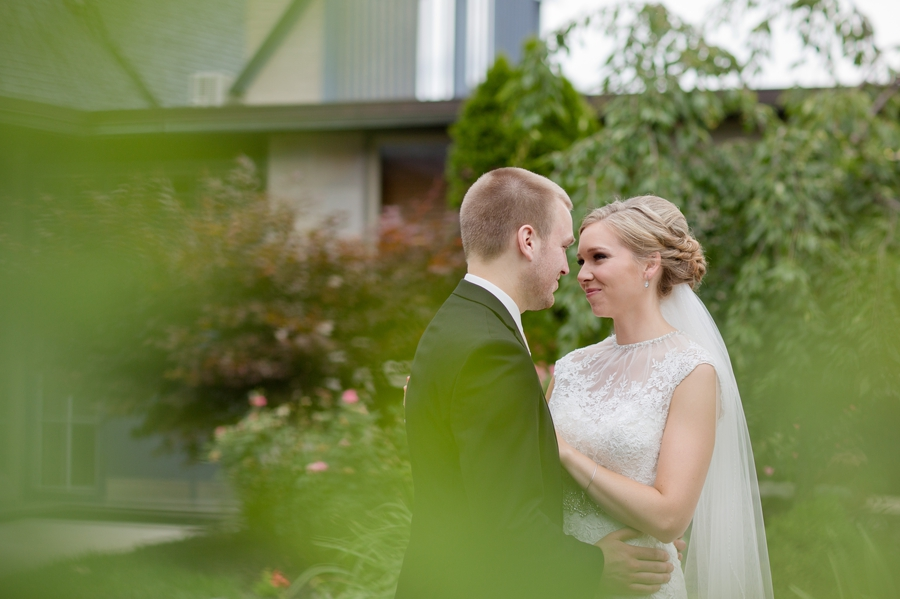 bride and groom portraits at church