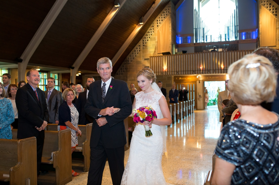 St. Christopher Catholic bride walking down aisle