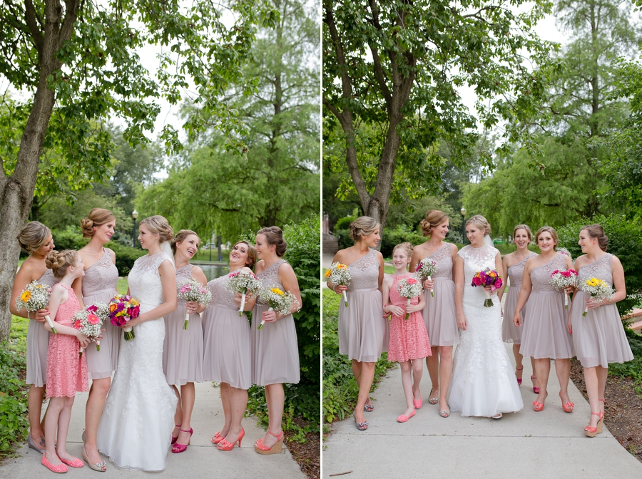 bride with bridesmaids at The Columbus Athenaeum