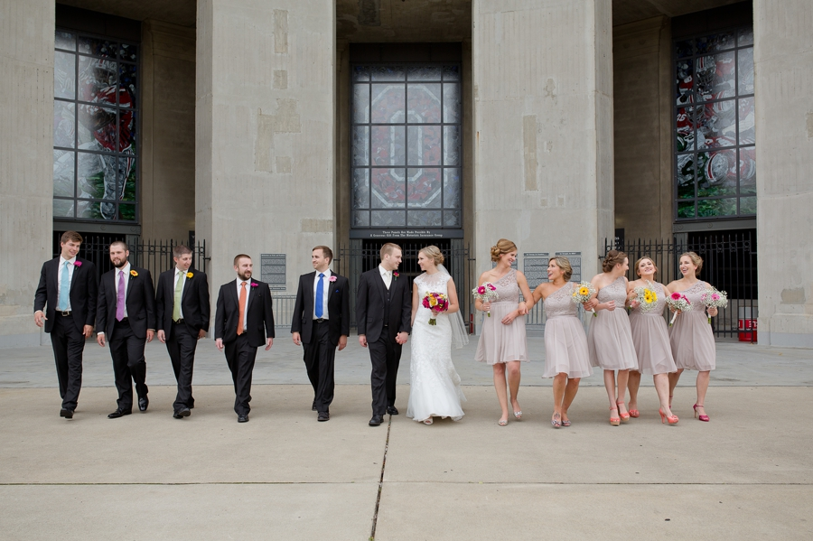 wedding party walking at The Columbus Athenaeum