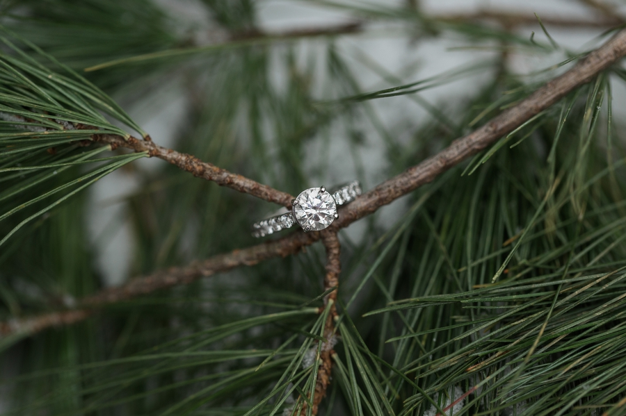 engagement ring in snow at Hoover Dam