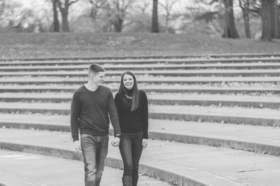 engaged couple walking at Franklin Park Conservatory