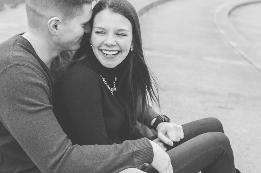 engaged couple laughing at Franklin Park Conservatory