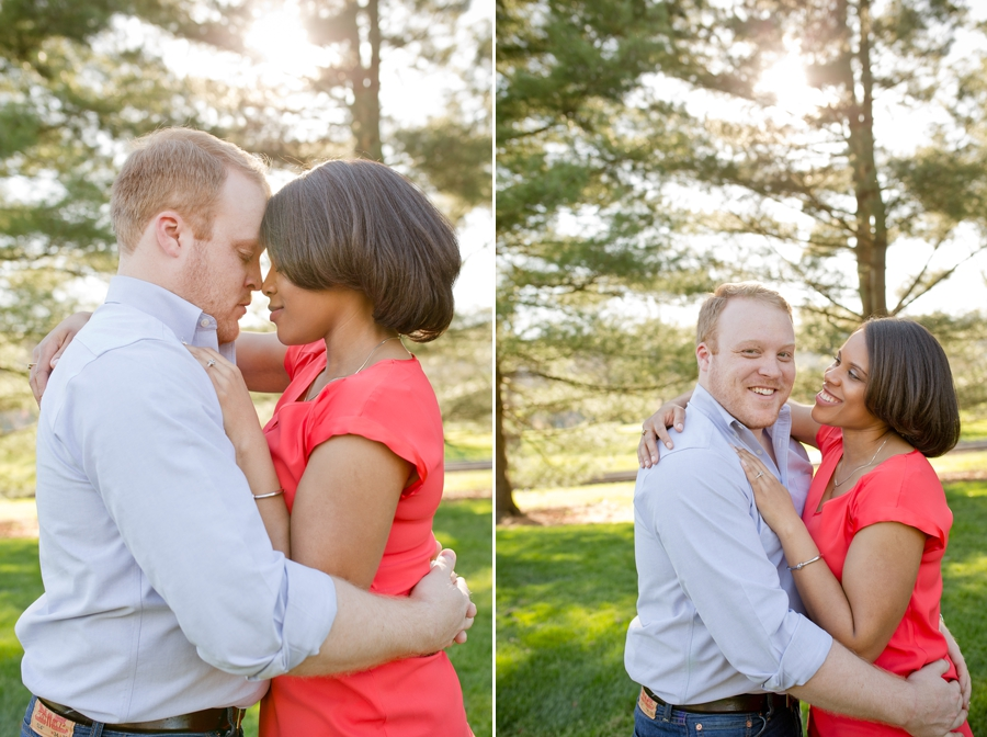 engaged couple with foreheads together at Ryland Lakes Country Club