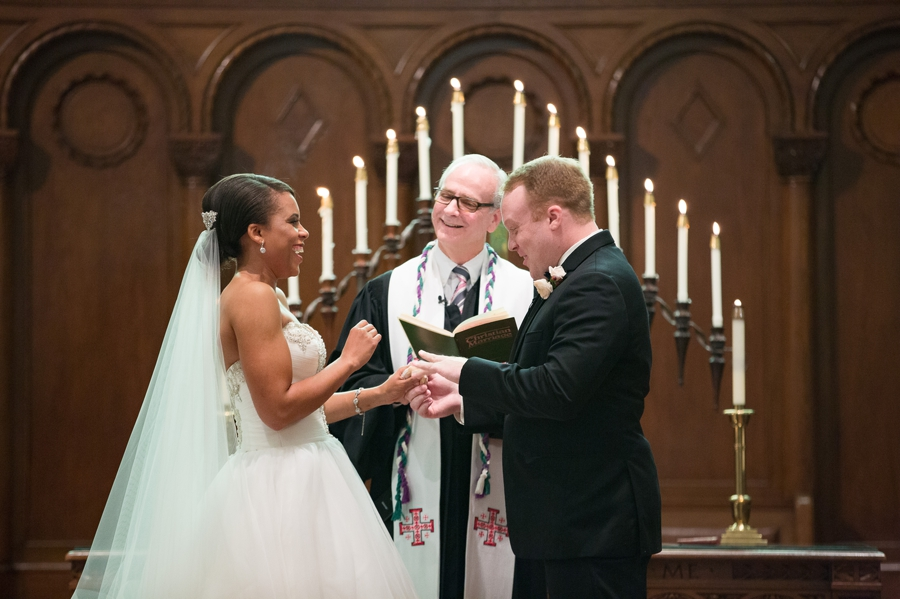 exchange of rings at church ceremony