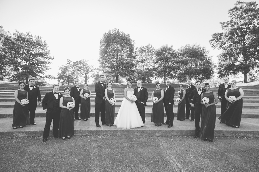 wedding party sunset at The Hilton Downtown Columbus
