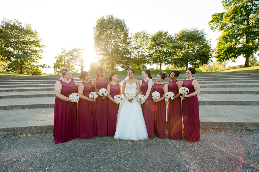 bride with bridesmaids at sunset The Hilton Downtown Columbus