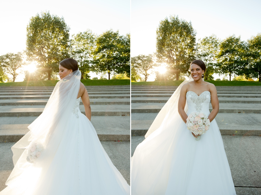 bride at sunset The Hilton Downtown Columbus
