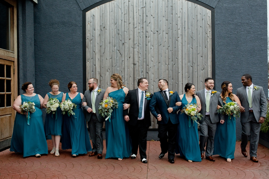 wedding party walking and talking