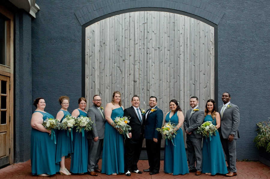 entire wedding party at High Line Car House