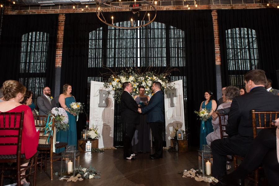 wedding ceremony at High Line Car House Columbus, OH