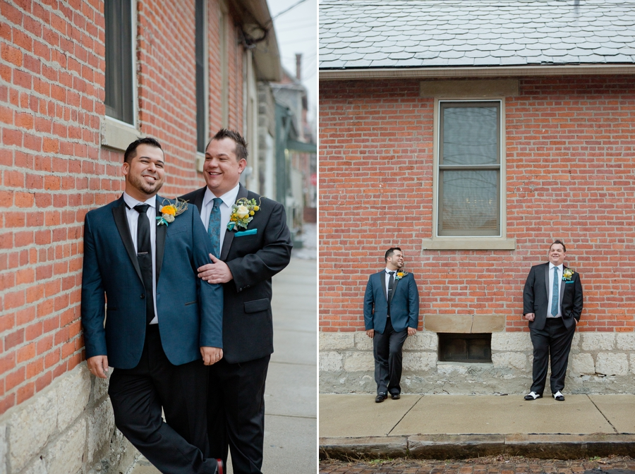 same sex wedding outside with brick