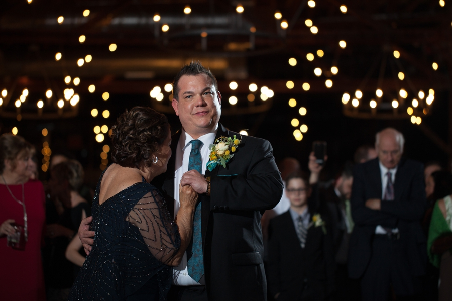 groom dancing with his mother at High Line Car House Columbus, OH