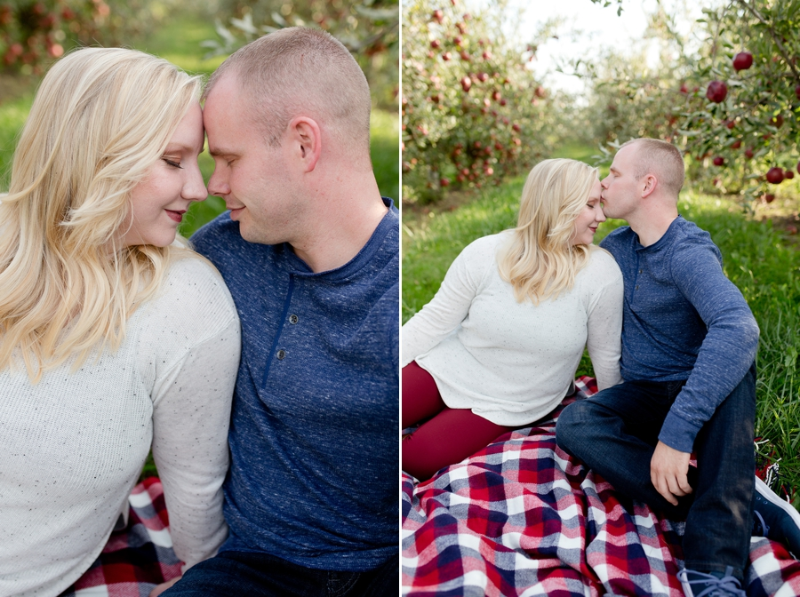 engaged couple at Lynd's Fruit Farm
