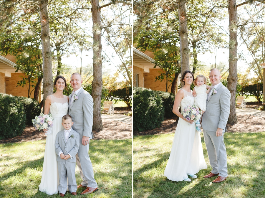 bride and groom with son and flowergirl at Rustic Barn Wedding