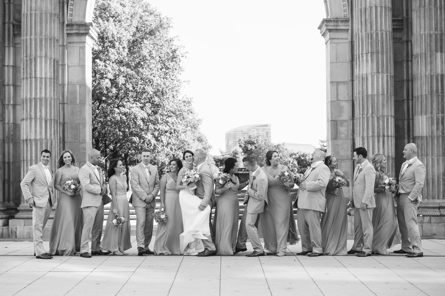 wedding party dancing at nationwide arena arch at Rustic Barn Wedding