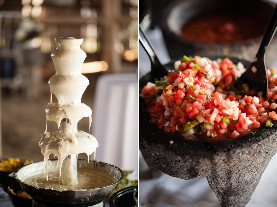 queso cheese fountain at Rustic Barn Wedding