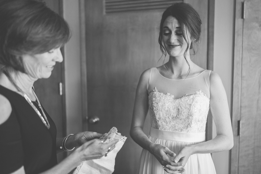 mother of bride gifting bride