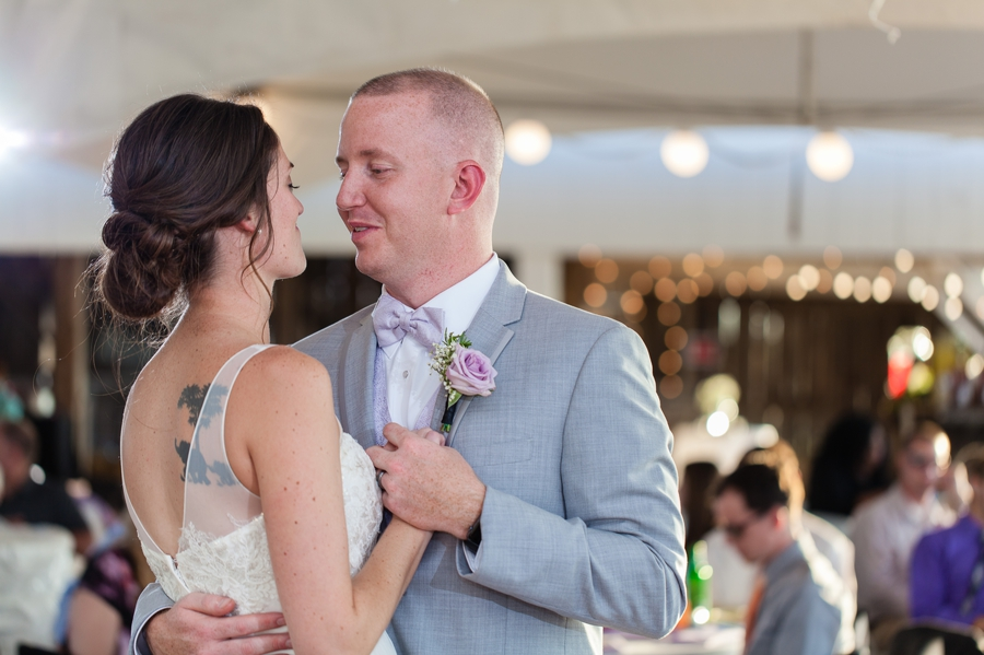 bride and groom first dance at Rustic Barn Wedding