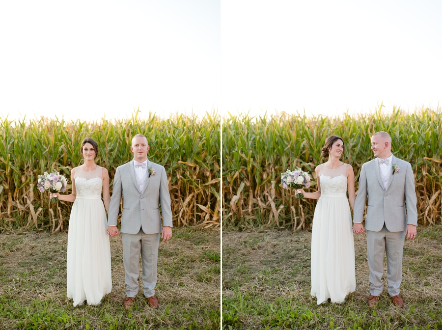 green acres inspired photo of bride and groom at Rustic Barn Wedding